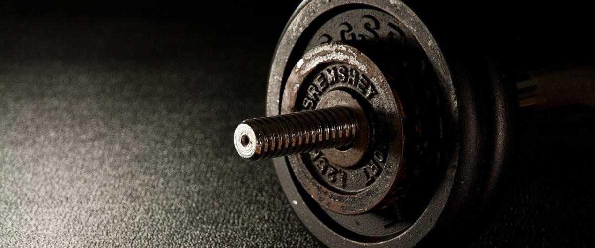 Barbell with weight on it