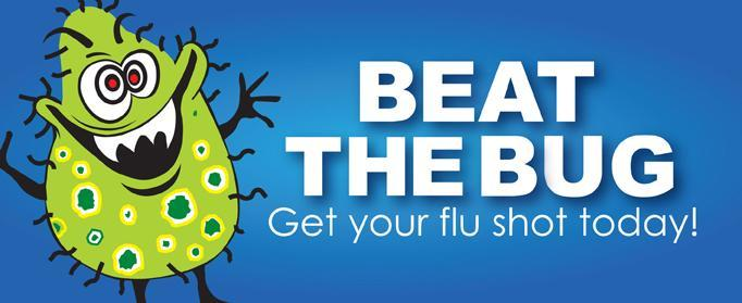 Beat the bug graphic.  Get your flu shot today!  Links to store locator page to find a store to get your flu shot at.