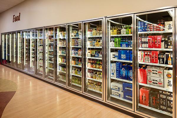 Large selection of beverage items including beer, wine, liquor, soda and juices.