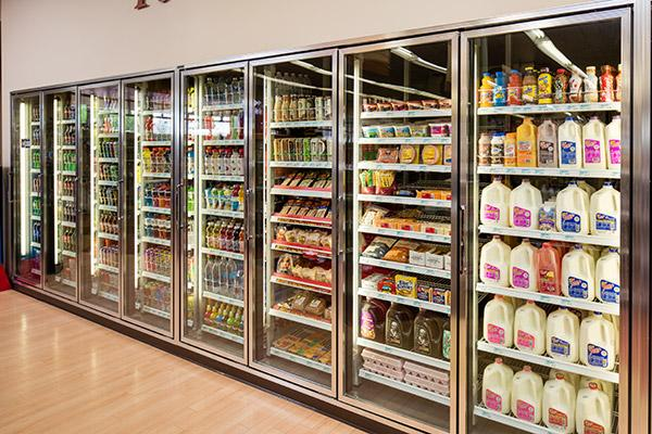 Large selection of grocery items from milk to bread and everyday staples.