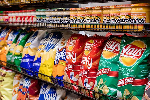 Snacks from chips to candy to bakery items