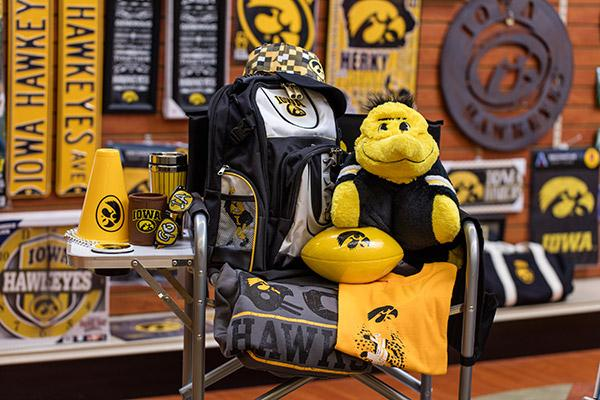 Large selection of sparts merchandise from Hawkeye to Badgers to Cubs & Bears