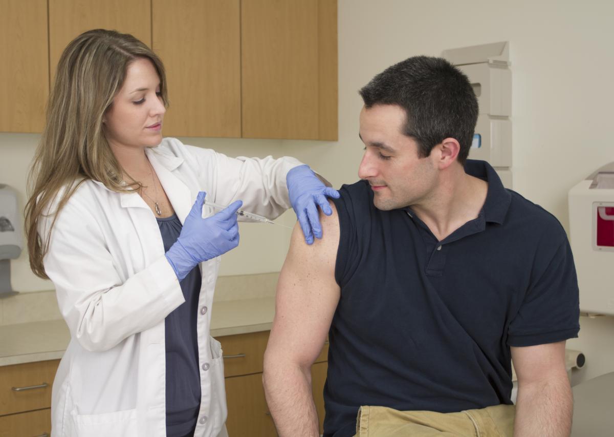 Image of patient receiving TDAP vaccine